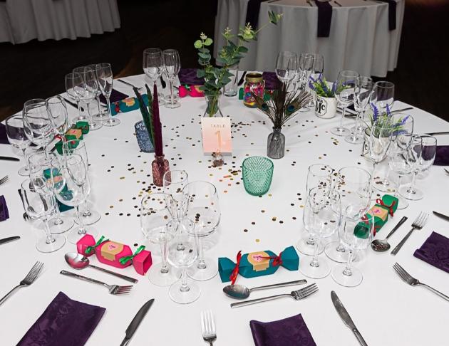 Table setting and karen and david's wedding