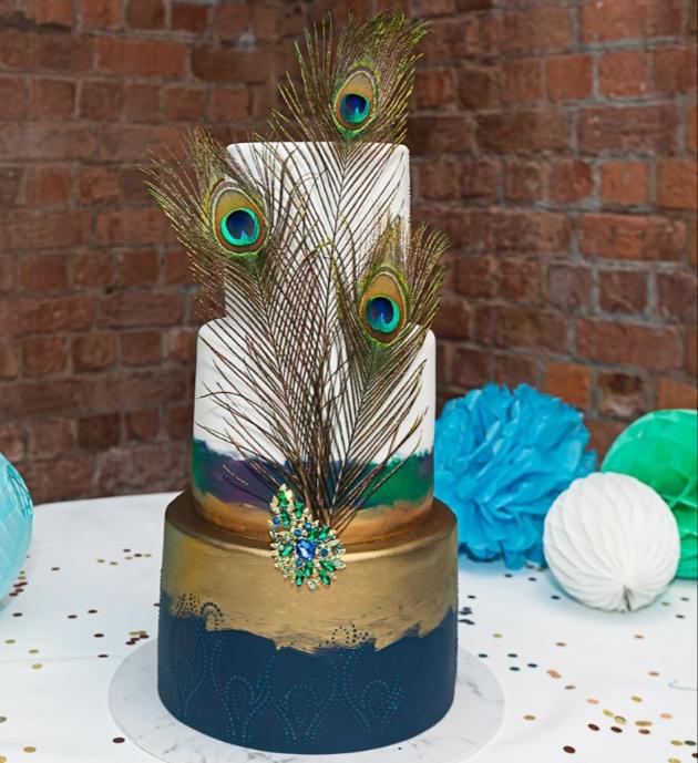 karen and david's peacock themed wedding cake