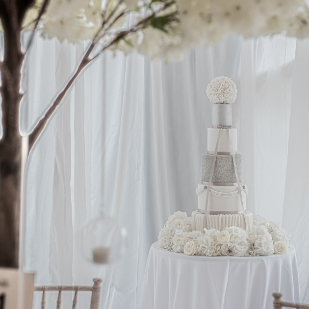 Silver and white five-tier winter wedding cake