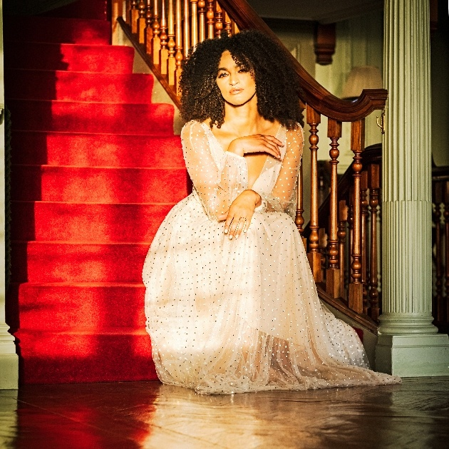 bride sits on red carpeted stairs as sun shines through the window