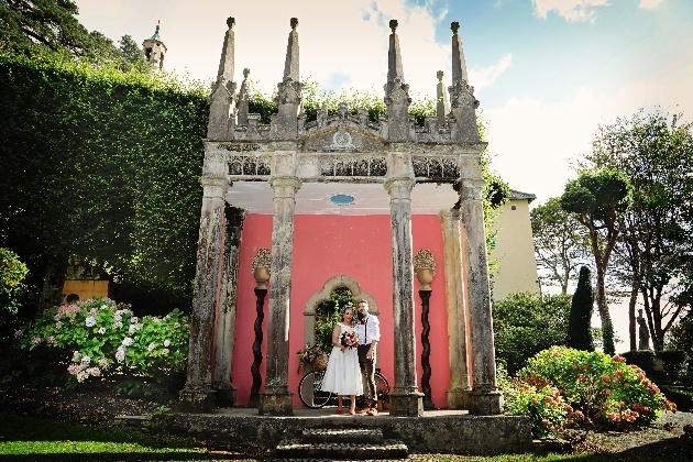 Bride and groom in beautiful portmerion gardens