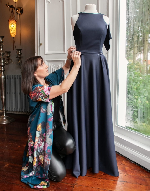 Beth making a bridesmaid dress at her boutique Laraine Westwood