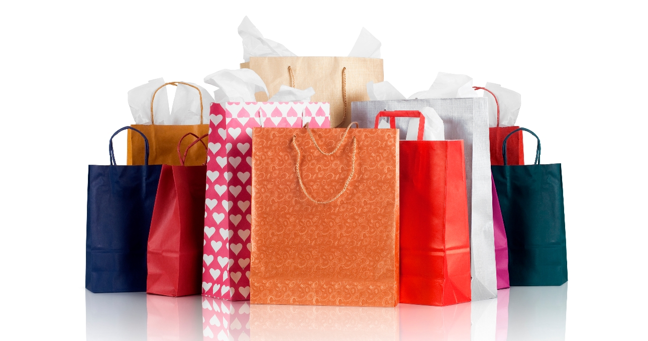shopping bags of all different colours